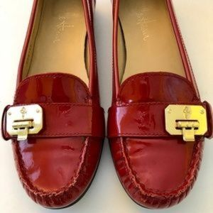 COLE HAAN Nike Air Red Patent Loafer Flats Buckle